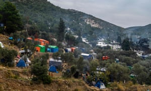 A refugee camp on the island of Samos. Greece is to close three overcrowded camps on islands facing Turkey