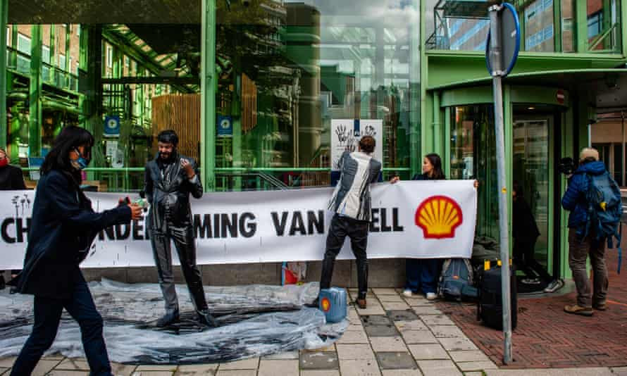 Climate activists protest against Shell in The Hague in October 2020