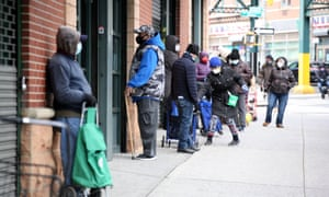 Residents in New York in a queue for food donations amid the ongoing pandemic.