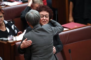 Jacinta Collins is congratulated by Penny Wong