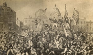 Yeomanry charging into the crowds in the Peterloo Massacre.