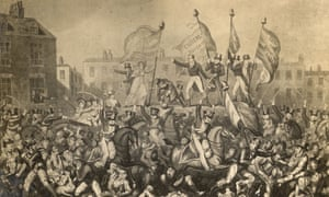 Yeomanry charge the crowd gathered to demand reform of parliamentary representation in St Peter's Fields, Manchester, 1819. Fifteen people were killed in what became known as the Peterloo massacre.