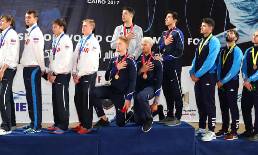 Race Imboden and Miles Chamley-Watson are among the US athletes to have protested during a medal ceremony