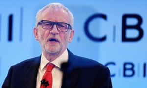 Jeremy Corbyn addresses the Confederation of British Industry (CBI) conference  on Monday.