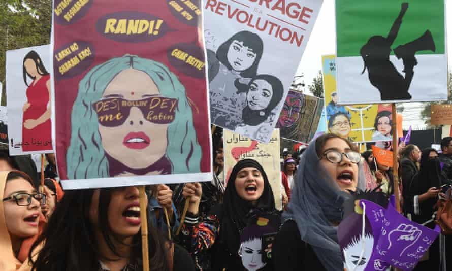 Pakistani women march on International Women's Day in Lahore on 8 March 2019.