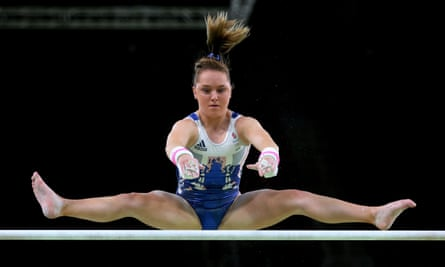 The British gymnast Amy Tinkler practises on the uneven bars at the Rio Olympic Games in 2016.