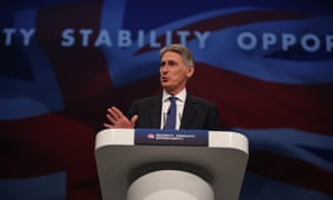 Philip Hammond speaks at the Conservative conference in Manchester
