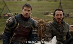 A Game of Thrones scene with subtitles about a dragon roaring