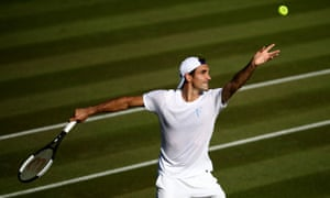 Roger Federer practising ahead of Wimbledon.