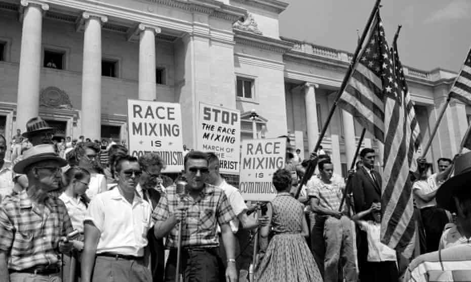 White segregationist demonstrators protesting at the admission of the Little Rock Nine, to Central High School, 1959