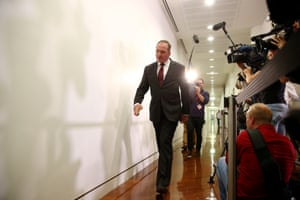 Barnaby Joyce arrives for the leadership meeting in the Nationals party room this evening in Parliament House Canberra this evening, Thursday 11th February 2016. Photograph by Mike Bowers