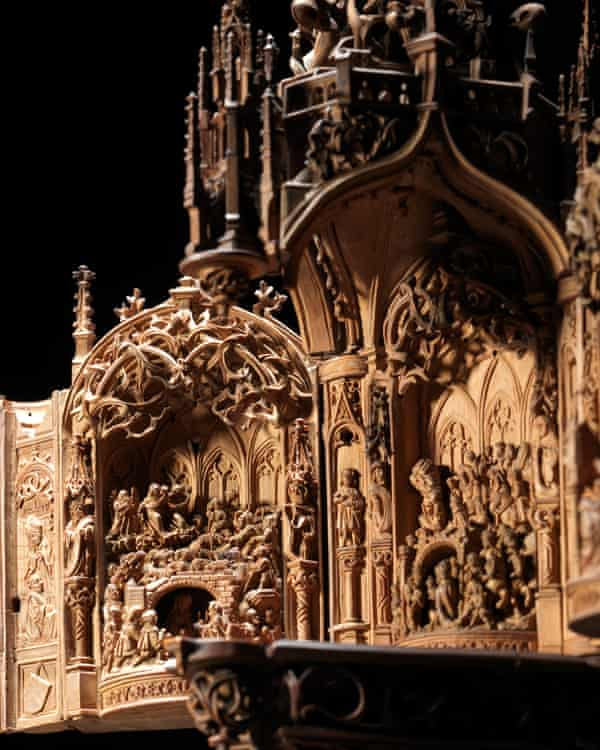 Detail of a boxwood miniature triptych on display in the exhibition.