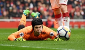 Cech gets down low to save from Long.