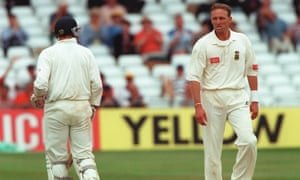 Allan Donald and Mike Atherton exchange pleasantries during their infamous exchange in the fourth Test at Trent Bridge. The bad blood between the teams continued at Headingley.