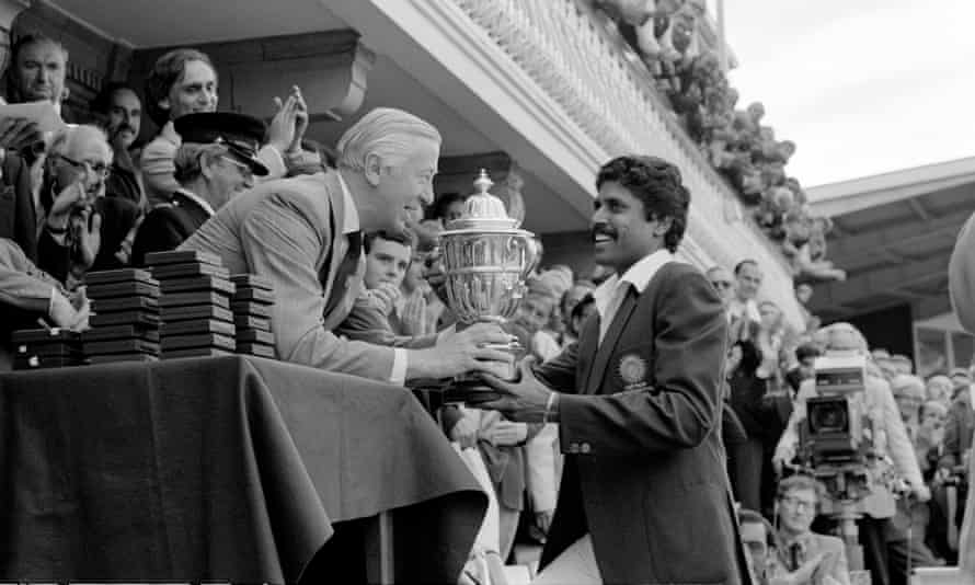 Kapil Dev receives the World Cup after India's triumph at Lord's in 1983, having come into the tournament as 40-1 outsiders.