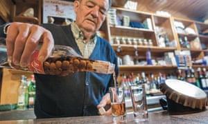 Juanín pours another measure at his eponymous restaurant in Picos de Europe, Spain.