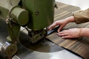 Stitching the veneer.