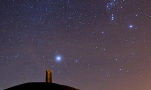 Sirius and Orion above Glastonbury Tor