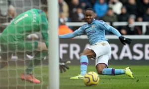 Raheem Sterling doesn't really catch the ball and Dubravka gathers.