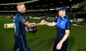 Ben Stokes shakes hands with England captain Eoin Morgan after winning the first One Day International match against the West Indies.