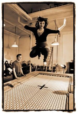 Kate Bush on a trampoline in 1993.