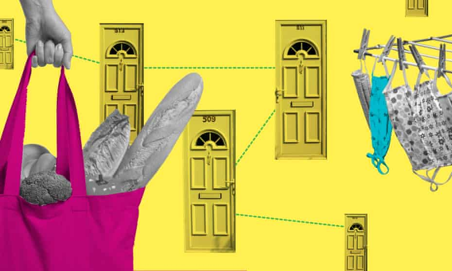 Composite picture of doors and bag of shopping