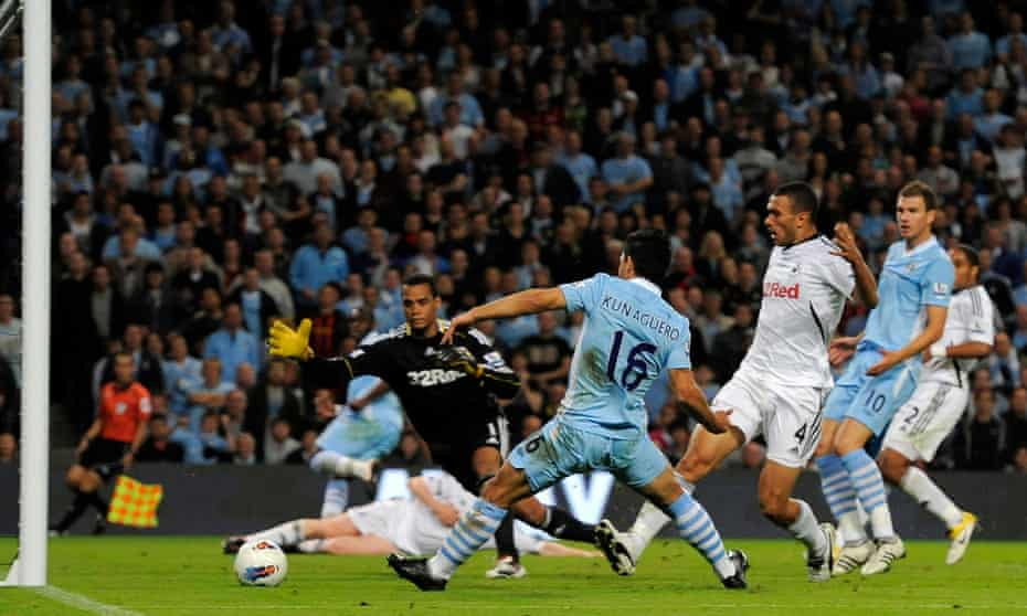 Sergio Agüero scores on his Manchester City debut against Swansea in August 2011.