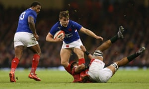 France's Antoine Dupont in action against Wales. The scrum-half's running and probing impressed in the first three matches.