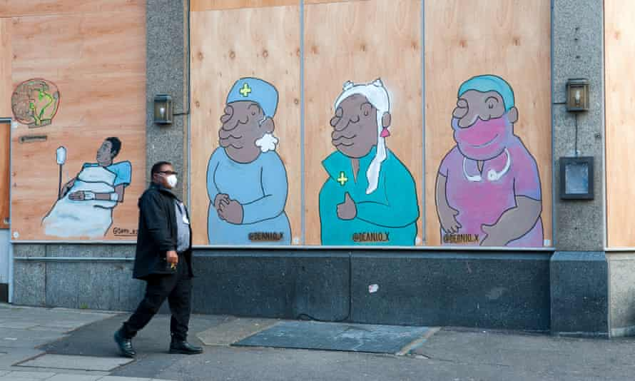 Street art in south London by Deanio_X, representing BAME NHS staff.