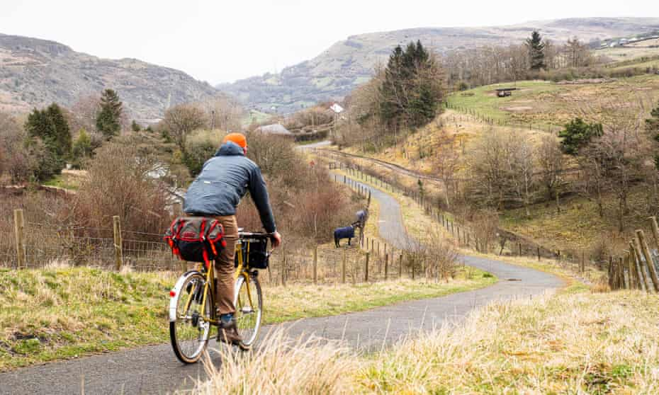 cyclist descending into the Clydach gorge west of Abergavenny