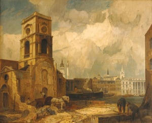 Demolition of St Olave's, Tooley Street, London by Rex Vicat, 1927