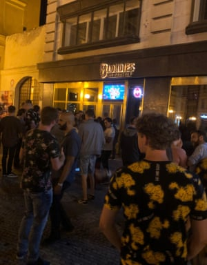 A crowded bar in Prague is indicative of the 'snowballing' trade of pub tours