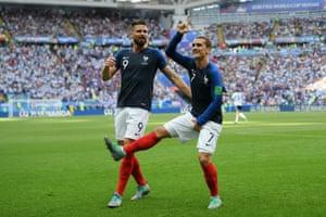 Griezmann celebrates.