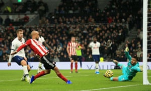 David McGoldrick of Sheffield United scores a goal which is then disallowed following a VAR check.