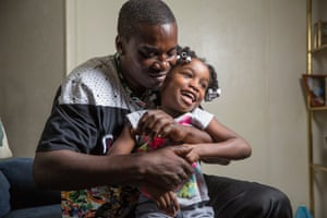 Jaron McNealy with his daughter, six. He has begun reconnecting with his children since leaving prison.