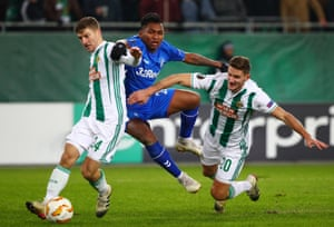 Alfredo Morelos, seen here during Rangers' defeat to Rapid Vienna in the Europa League, has had an ill-disciplined season.