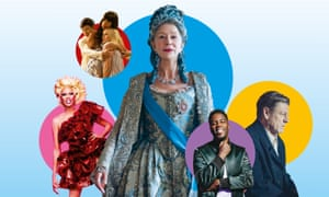 From left: RuPaul's Drag Race UK; The Good Place; Catherine the Great; Mo Gilligan: Momentum; World on Fire.