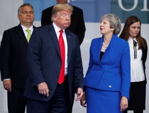 Donald Trump and  Theresa May in Brussels