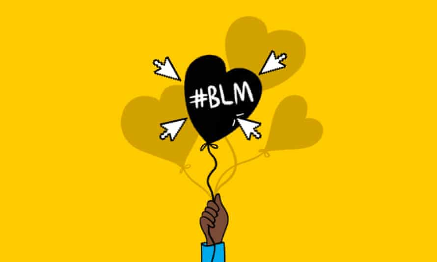 Illustration of a hand holding a Black Lives Matter heart-shaped balloon