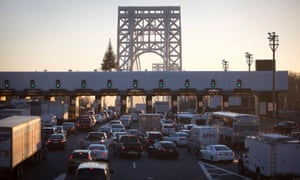Toll booths at the New Jersey side of the George Washington Bridge.