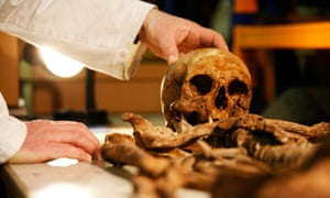 A staff member works in the storeroom of the Museum of London.