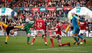 Bristol City's keeper Frank Fielding shoots at goal