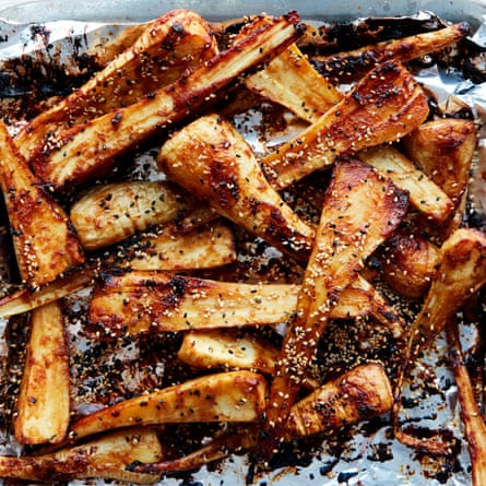 Anna Jones' miso and sesame roasted parsnips.