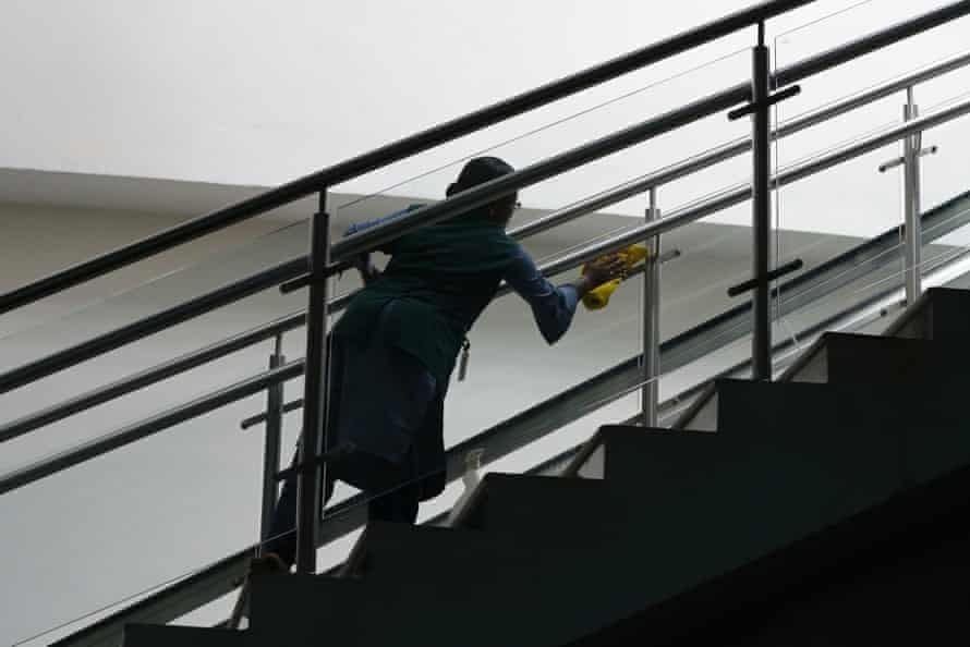 A member of Muttom station's housekeeping department at work