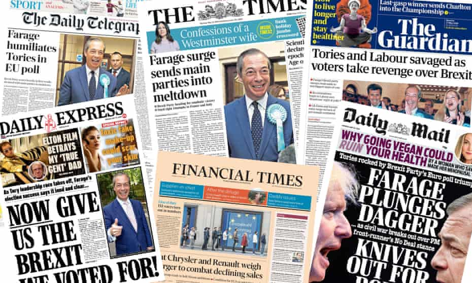 The front pages of the papers in the UK from Monday 27 May 2019