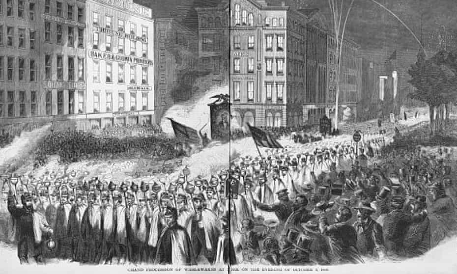 Grand procession of Wide-Awakes at New York on the evening of 3 October 1860.