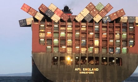 The APL England cargo ship lost 40 containers in rough seas off the NSW coast.