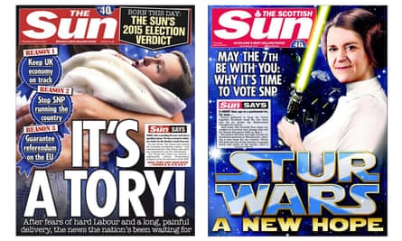 The front pages of The Sun and The Scottish Sun, as the papers announced which parties they were supporting in next week's General Election
