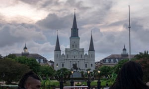 Storm clouds gather over St Louis cathedral in New Orleans on Thursday.