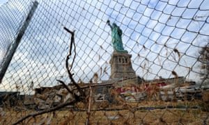 The Statue of Liberty among the damage caused by hurricane Sandy, November 2012.